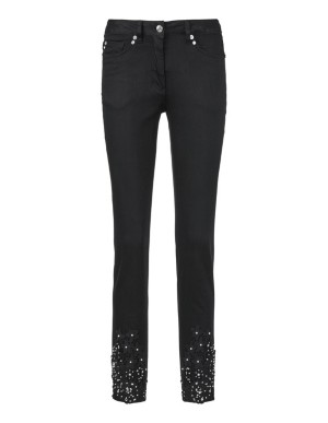 Jeans with lace, ornamental pearls and rhinestones
