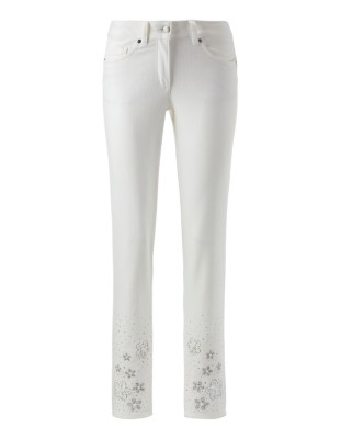 Embroidered jeans with hem decoration