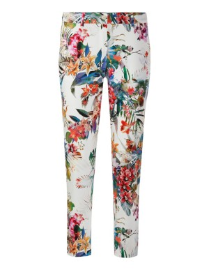 Cropped tropical print trousers