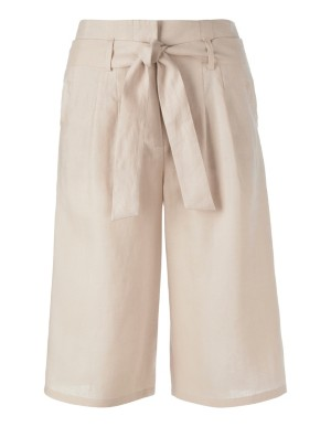 Linen high-waisted Bermuda shorts