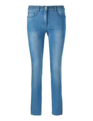 Cropped jeans with decorative stitching