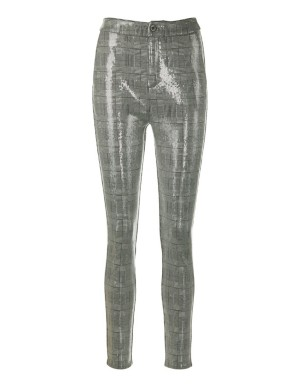 Checked leggings with transparent sequins