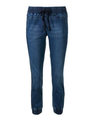 Denim-look jogging trousers with elasticated waistband