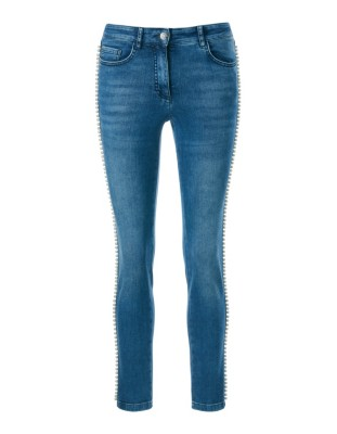 Jeans with faux pearl trim