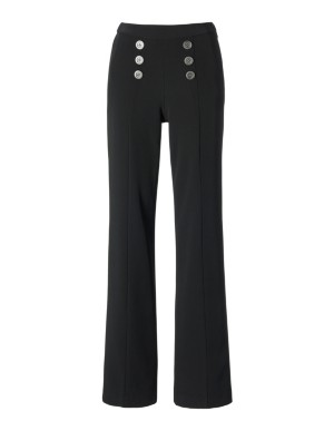 Wide-leg trousers with button detail