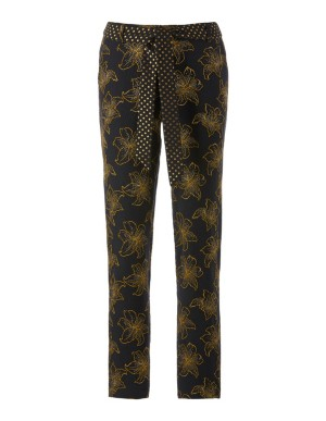 Embroidered ankle-length trousers