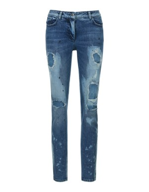 Distressed slim-line stretch jeans