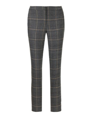 Check trousers with side stripe