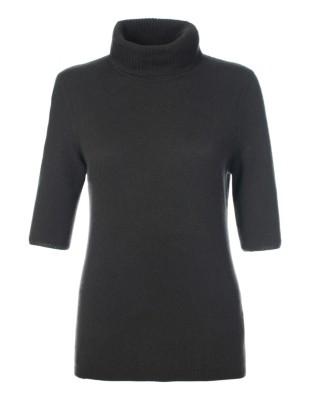 Short-sleeved cashmere polo neck jumper