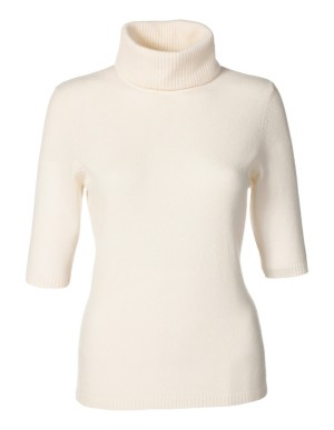 Knitted cashmere roll-neck top