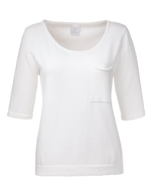 Short-sleeved, shape-retaining cotton jumper