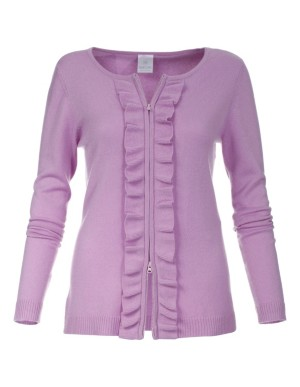 Cashmere cardigan with ruffled zip opening