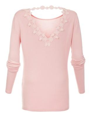 Lace-adorned jumper