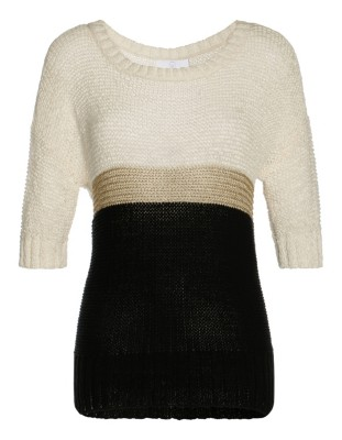 Stylish colour block knitted top