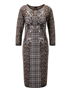 Mixed pattern knitted dress