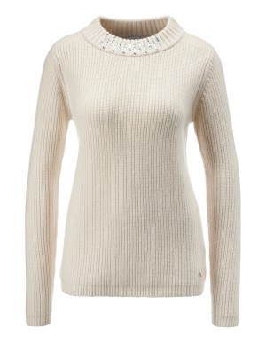 Coarse-knit cashmere and wool jumper with ornamental stones