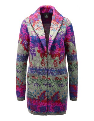 Long, multi-coloured jacquard cardigan