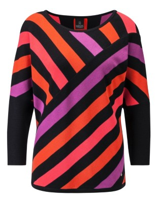 Brightly coloured striped jumper