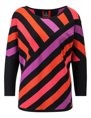 Brightly coloured striped jumper