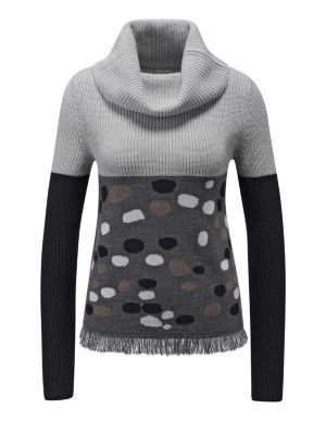 Polo neck jumper with dots and fringing