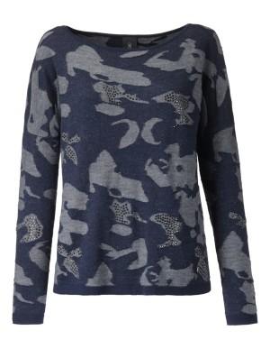Jacquard jumper with stone embellishment