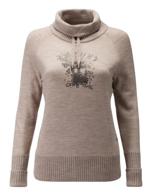 Jumper with print and ornamental stone embellishment