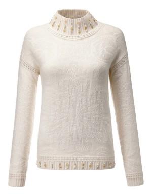 Embellished textured jumper