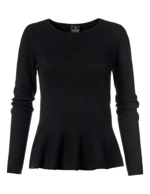 Long-sleeved cashmere jumper with peplum