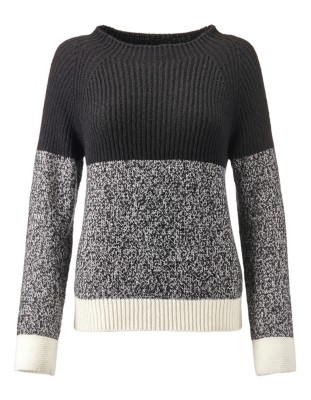 Fluffy colour-block jumper