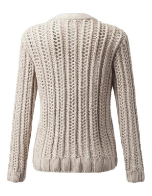 Chunky eyelet knit wool and cashmere cardigan