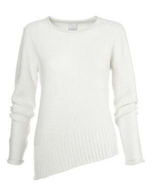 Loose-fit, long-sleeved casual jumper with angled hem