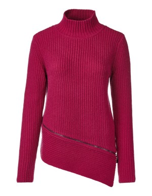 Soft jumper with wide, slanted hem
