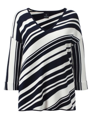 Relaxed-fit, diagonally striped jumper