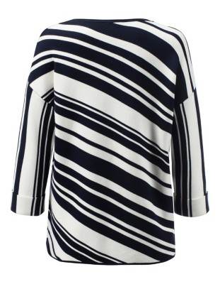 Relaxed-fit, diagonal stripe jumper