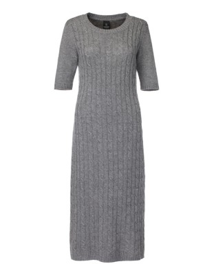 Short-sleeved, cable-knit dress
