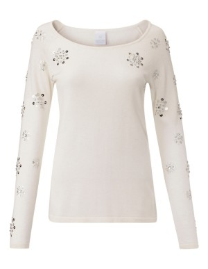 Loose-fit jumper with sequins and faux pearls