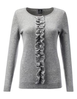 Cashmere jumper with centre ruffle