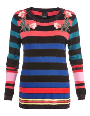 Block-striped jumper with appliqué flowers