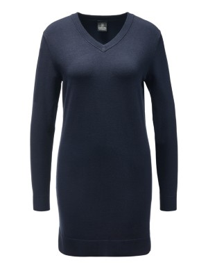 Longline, relaxed fit V-neck jumper