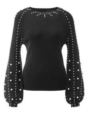 Pearl-embellished gigot-sleeve jumper