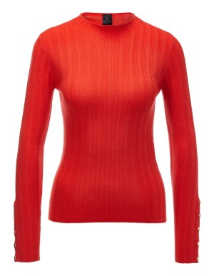 Button-sleeved merino wool jumper