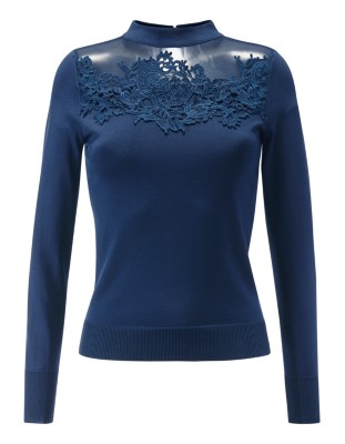Jumper with filigree lace embellishment