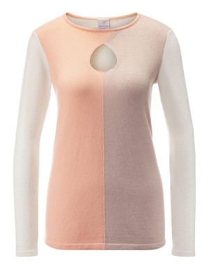 Pastel-coloured colour block jumper