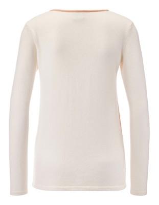 Pastel-coloured colour block jumper