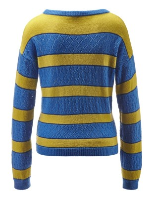 Eyelet knit block stripe jumper