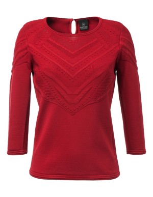 Fine ribbed and eyelet knitted jumper