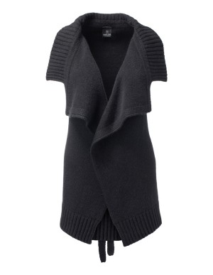 Sleeveless cardigan with turn-down collar and belt