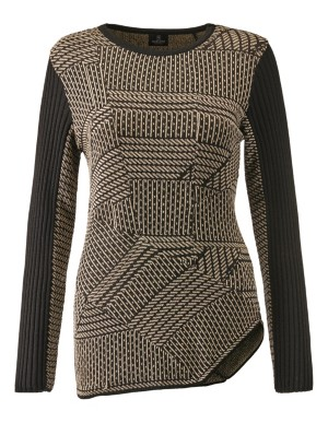 Contrasting jacquard jumper with angled hem