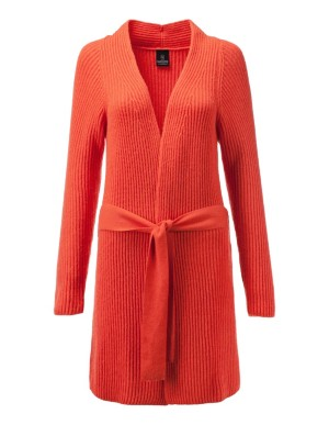 Ribbed knit open-front longline cardigan