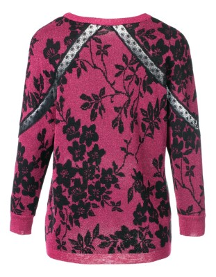 Jacquard jumper with lace detailing
